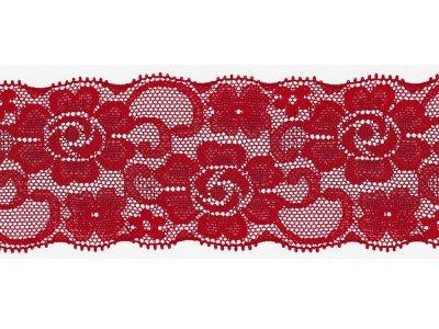 Elastische Spitze 50 mm - Blumen - tomatenrot
