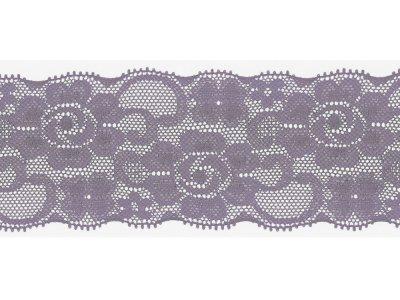 Elastische Spitze 50 mm - Blumen - lila