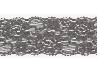 Elastische Spitze 50 mm - Blumen - grau
