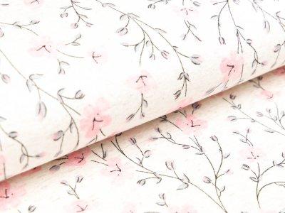 Viskose-Leinen - Blumenzweige - meliert beige/rosa