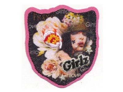 "Applikation ""Girlz"" Label zum Aufbügeln rosa"
