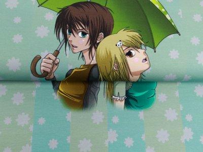 Sweat French Terry PANEL ca. 65 cm x 150 cm Manga Teens - Teens mit Regenschirm - altmint