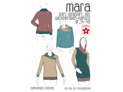 Schnittmuster Mara Shirt-Longshirt mit Wickelkragen-Kapuze