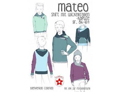 Schnittmuster Mateo Shirt mit Wickelkragen-Kapuze Kinder