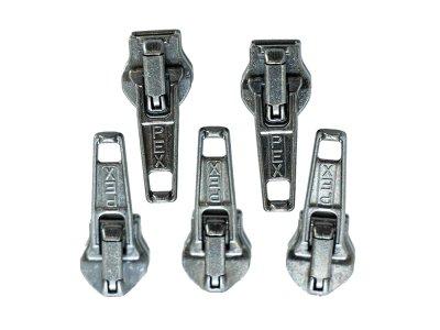 Slider/Zipper/Automatikschieber für Reißverschlüsse Größe 5 - Set 5 Stück - metallisch