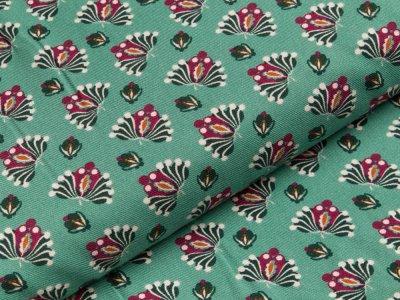 Viskose-Twill Milliblu´s - Blütenornamente - altgrün
