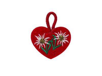 Applikation Herz mit Edelweiß zum Aufbügeln rot