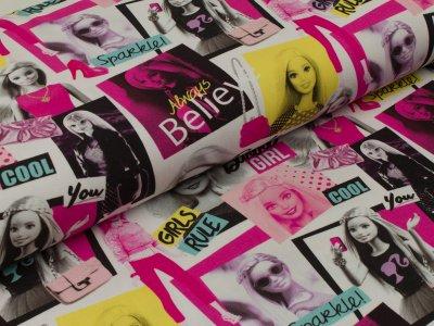 Jersey - Barbie Comic Print weiß-pink-gelb