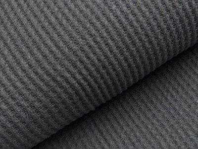 Strickstoff Baumwolle - Waffelmuster - uni graublau