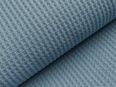 Strickstoff Baumwolle - Waffelmuster - uni blau