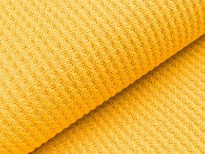 Strickstoff Baumwolle - Waffelmuster - uni ocker