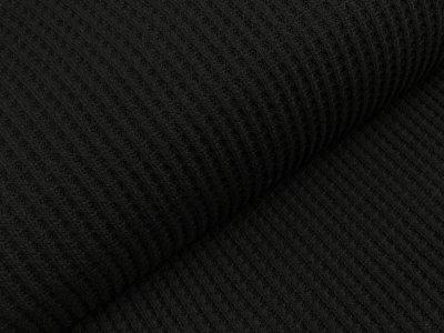 Strickstoff Baumwolle - Waffelmuster - uni schwarz