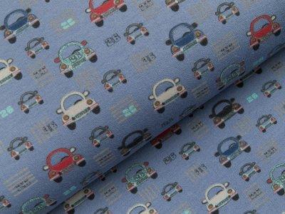 Leicht angerauter Sweat - verschiedene Autos - blau