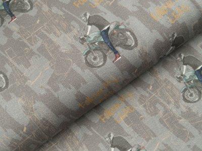 Leicht angerauter Sweat Digitaldruck - Motorradfahrer - grau