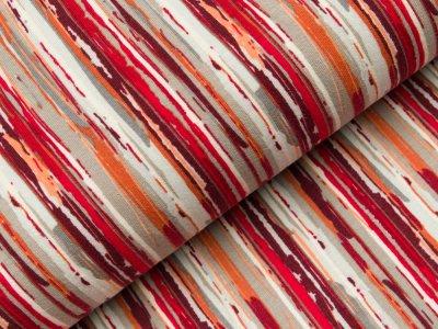 Sweat French Terry - verschiedene Streifen - rot/weiß