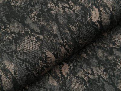 Sweat French Terry - Animalprint Schlange - anthrazit/braun