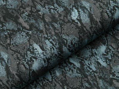 Sweat French Terry - Animalprint Schlange - schwarz/blau