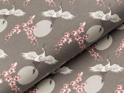 Modal-Sweat - Kraniche und Kirschblüten - grau