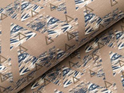 Sweat French Terry - Ethno-Muster -Triangeln - braun