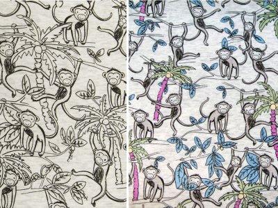 Alpenfleece Farbwechsel Color Changing Print - Affen - meliert beige