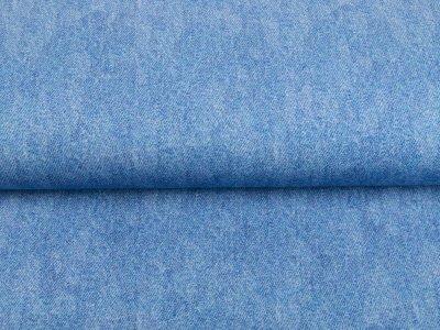 Sweat French Terry Digitaldruck in Jeansoptik - helles jeansblau