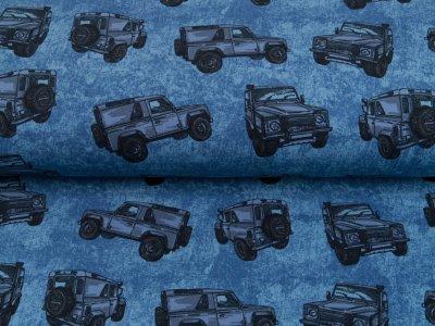 Leicht angerauter Sweat Brushed - Geländewagen auf Jeansoptik - blau