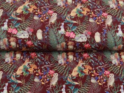 Sweat French Terry Digitaldruck - tierische Waldbewohner - altbordeaux