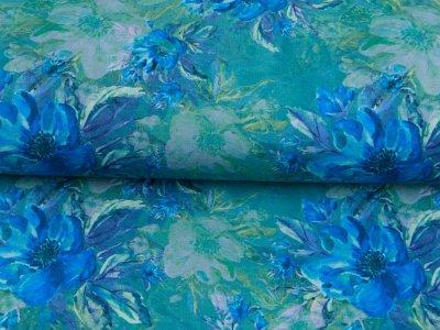 Sweat French Terry Digitaldruck - wunderschöne Blumen - altgrün