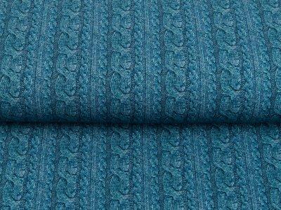 Sweat French Terry Digitaldruck - Zopfmuster - jeansblau