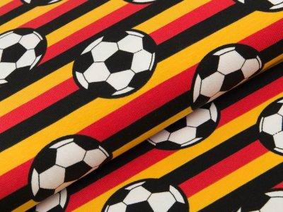 Jersey - Fußbälle auf Streifen - schwarz/rot/gelb