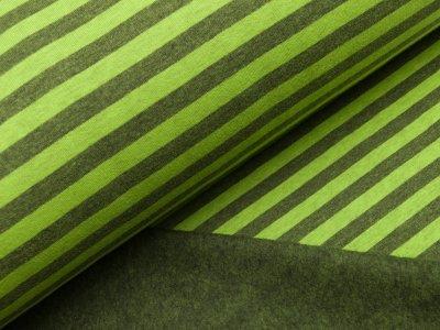 Angerauter Sweat - Streifen - lime