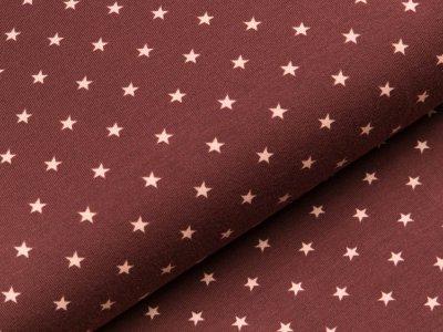 Jersey - kleine Sterne - braun/rosa