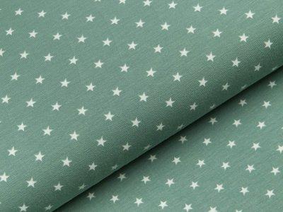 Jersey - kleine Sterne - dunkles mint/weiß