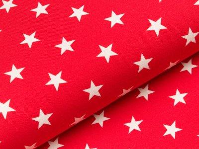 Sweat French Terry - unregelmäßige Sterne - rot/weiß