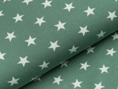 Sweat French Terry - unregelmäßige Sterne - dunkles mint/weiß