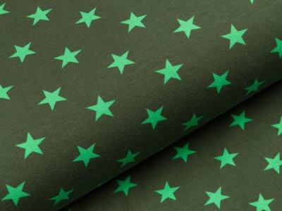 Sweat French Terry - unregelmäßige Sterne - dunkles grün/grasgrün