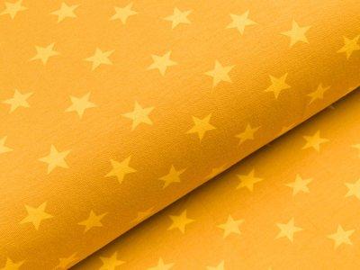 Sweat French Terry - unregelmäßige Sterne - ocker/gelb