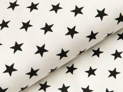 Sweat French Terry - unregelmäßige Sterne - weiß/schwarz