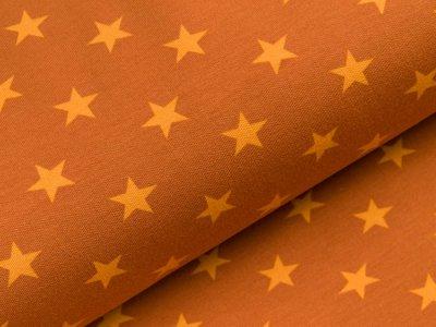 Sweat French Terry - unregelmäßige Sterne - rost/gelb