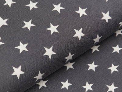 Sweat French Terry - unregelmäßige Sterne - grau/weiß
