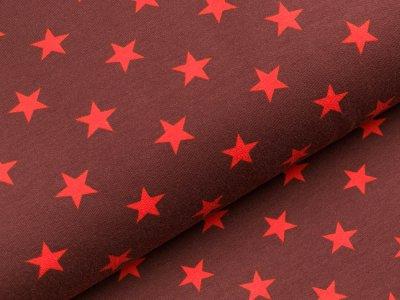 Sweat French Terry - unregelmäßige Sterne - braun/rot