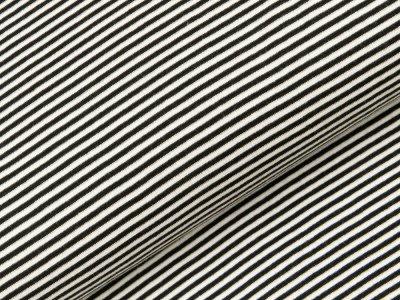 Glattes Bündchen im Schlauch schmal gestreift - weiß/schwarz