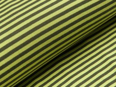 Glattes Bündchen im Schlauch breit gestreift - helles grün/anthrazit