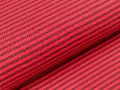 Glattes Bündchen im Schlauch breit gestreift - hellrot/dunkelrot