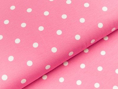 Jersey - große Punkte - pink/weiß