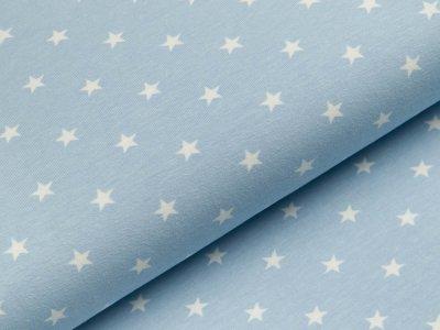 Jersey - Sterne - helles blau/weiß
