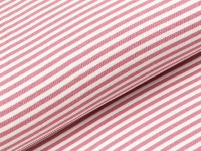 Glattes Bündchen im Schlauch breit gestreift - altrosa/wollweiß