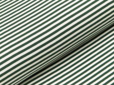 Glattes Bündchen im Schlauch breit gestreift - dunkelgrün/wollweiß