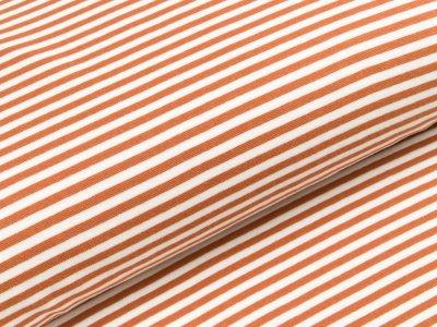 Glattes Bündchen im Schlauch breit gestreift - rost/wollweiß