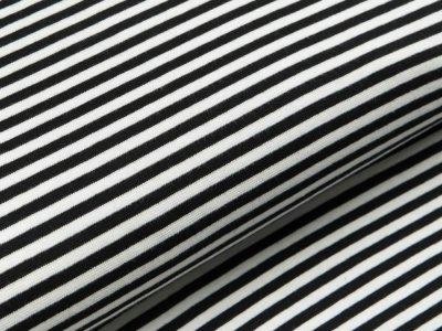 Glattes Bündchen im Schlauch breit gestreift - schwarz/wollweiß
